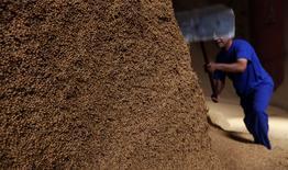 Homem trabalha em montanha de grãos de soja na cidade de Sorriso, no Estado do Mato Grosso 27/09/2012 REUTERS/Nacho Doce
