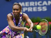 Sept 1, 2016; New York, NY, USA; Venus Williams of the USA hits to Julia Goerges of Germany (not pictured) on day four of the 2016 U.S. Open tennis tournament at USTA Billie Jean King National Tennis Center. Mandatory Credit: Robert Deutsch-USA TODAY Sports