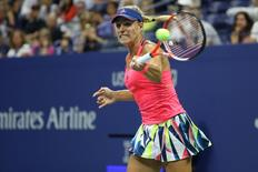 Sep 2, 2016; New York, NY, USA; Angelique Kerber of Germany hits a forehand against Catherine Bellis of the United States (not pictured) on day five of the 2016 U.S. Open tennis tournament at USTA Billie Jean King National Tennis Center. Mandatory Credit: Geoff Burke-USA TODAY Sports