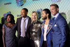 """Cast members (L-R) Viola Davis, Will Smith, Margot Robbie, Jared Leto and Joel Kinnaman attend the world premiere of """"Suicide Squad"""" in Manhattan, New York, U.S., August 1, 2016.  REUTERS/Andrew Kelly"""
