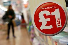 A sign is seen in a Poundland store in London, Britain, November 10, 2015. REUTERS/Stefan Wermuth/File Photo