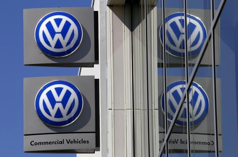 File photo of Volkswagen logos adorning a sign outside a dealership for the German automaker located in the Sydney suburb of Artarmon, Australia, October 3, 2015. REUTERS/David Gray/File Photo