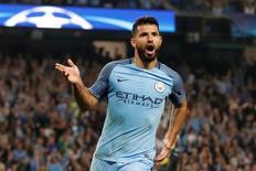 Aguero comemora gol do Manchester City sobre o Borussia Monchengladbach. 14/9/16.  Action Images via Reuters / Carl Recine