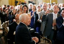 Comedian, actor, director Mel Brooks (C) enters the East Room to receive his 2015 National Medal of Arts from U.S. President Barack Obama at the White House in Washington, U.S., September 22, 2016.          REUTERS/Gary Cameron