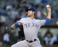 Sep 23, 2016; Oakland, CA, USA;  Texas Rangers starting pitcher Cole Hamels (35) delivers a pitch against the Oakland Athletics during the first inning at Oakland Coliseum. Mandatory Credit: Neville E. Guard-USA TODAY Sports