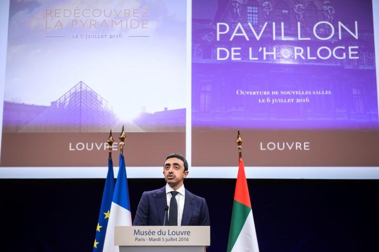 United Arab Emirates Minister of Foreign Affairs Sheikh Abdullah bin Zayed Al Nahyan delivers a speech during a visit at the Louvre museum in Paris, France, July 5, 2016. REUTERS/Christophe Petit Tesson/Pool
