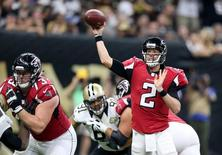 Sep 26, 2016; New Orleans, LA, USA; Atlanta Falcons quarterback Matt Ryan (2) makes a throw against the New Orleans Saints in the second quarter at the Mercedes-Benz Superdome. Mandatory Credit: Chuck Cook-USA TODAY Sports