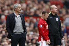 Manchester United's Wayne Rooney comes on as a substitute as Manchester United manager Jose Mourinho looks on. Britain Football Soccer - Manchester United v Leicester City - Premier League - Old Trafford - 24/9/16. Action Images via Reuters / Carl Recine Livepic
