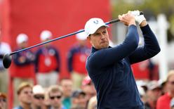 Sep 27, 2016; Chaska, MN, USA;  Henrik Stenson of Sweden follows his shot off the 9th tee during a practice for the 41st Ryder Cup at Hazeltine National Golf Club.  Mandatory Credit: Michael Madrid-USA TODAY Sports