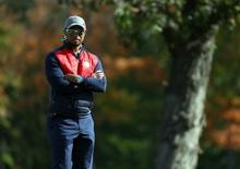 Sep 27, 2016; Chaska, MN, USA; Team USA vice-captain Tiger Woods during a practice for the 41st Ryder Cup at Hazeltine National Golf Club. Mandatory Credit: Rob Schumacher-USA TODAY Sports
