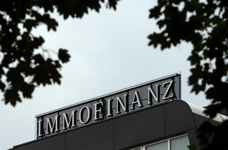 The logo of Austrian real estate group Immofinanz is pictured on top of the company's headquarters building in Vienna August 13, 2010.  REUTERS/Heinz-Peter Bader/File Photo