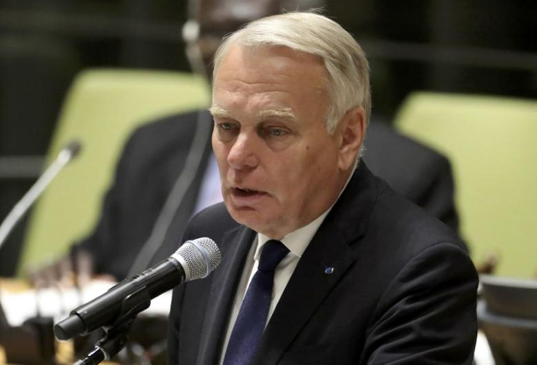 France's Minister for Foreign Affairs Jean-Marc Ayrault speaks during a high-level meeting on addressing large movements of refugees and migrants at the United Nations General Assembly in Manhattan, New York, U.S. September 19, 2016. REUTERS/Carlo Allegri