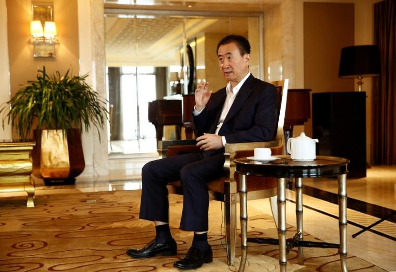 Wang Jianlin, chairman of the Wanda Group, speaks during an interview in Beijing, China, August 23, 2016. Picture taken August 23, 2016. To match Exclusive DALIANWANDA-CHAIRMAN/  REUTERS/Thomas Peter