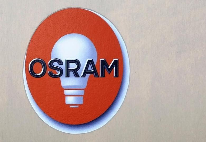 The logo of lamp manufacturer Osram is pictured at the headquarters in Munich, Germany February 26, 2014. REUTERS/Michaela Rehle/File Photo