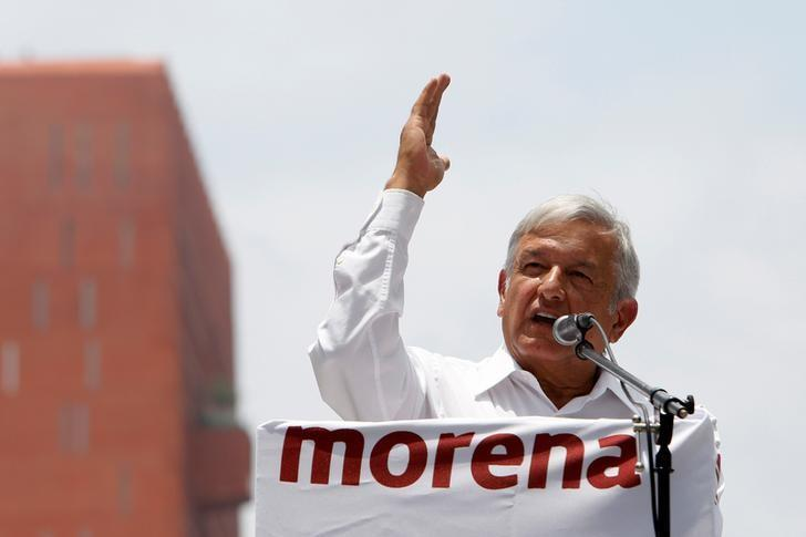 Andres Manuel Lopez Obrador, President of the National Regeneration Movement (MORENA) party, delivers a speech to supporters, in Mexico City, Mexico June 26, 2016.  REUTERS/Ginnette Riquelme