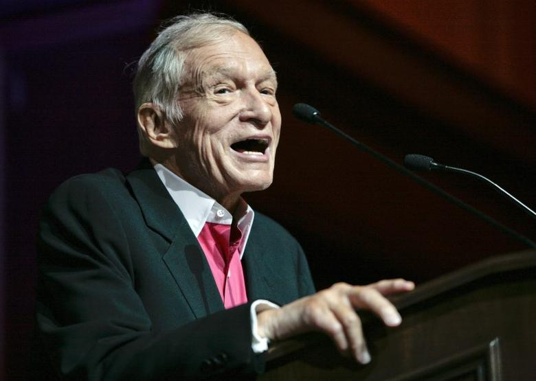 Hugh Hefner, founder, editor-in-chief and creative officer of Playboy, speaks as he is honored with the Hollywood Distinguished Service Award in Memory of Johnny Grant by the Hollywood Chamber of Commerce in Hollywood, California June 7, 2012. REUTERS/Jason Redmond/files