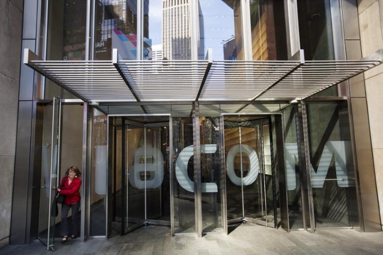 A woman exits the Viacom Inc. headquarters in New York, U.S. on April 30, 2013.   REUTERS/Lucas Jackson/File Photo