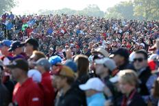 Oct 1, 2016; Chaska, MN, USA; Fans watch on the seventh hole during the morning foursome matches in the 41st Ryder Cup at Hazeltine National Golf Club. Mandatory Credit: Rob Schumacher-USA TODAY Sports
