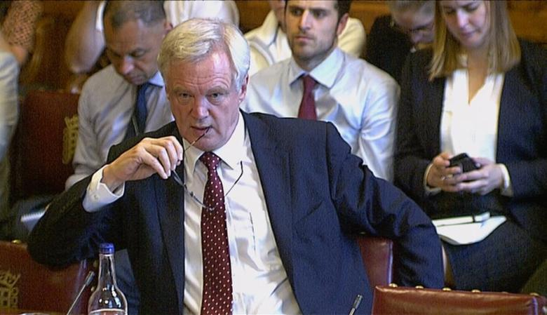 David Davies, secretary of state for exiting the European Union, is seen in a still taken from video as he speaks to a committee of the House of Lords, in Westmisnter, London, Britain, in this file photo dated September 12, 2016. REUTERS/Handout/Parliament TV/Handout via REUTERS