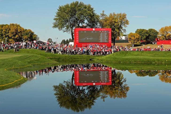 Oct 2, 2016; Chaska, MN, USA; A view of the scoreboard and gallery on the second tee during the single matches in 41st Ryder Cup at Hazeltine National Golf Club. Mandatory Credit: Rob Schumacher-USA TODAY Sports