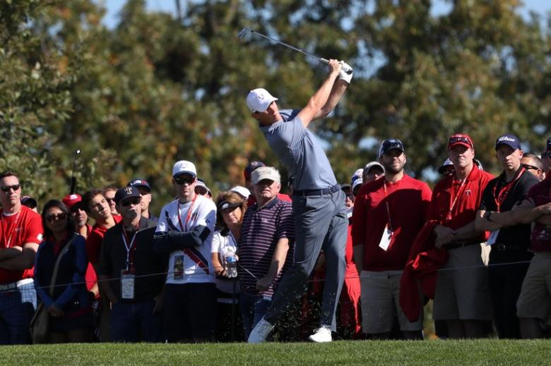 Oct 2, 2016; Chaska, MN, USA;  Thomas Pieters of Belgium plays his shot from the fairway on the second hole during the single matches in 41st Ryder Cup at Hazeltine National Golf Club. Mandatory Credit: Rob Schumacher-USA TODAY Sports