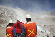 Empleados trabajando en la parte argentina de la mina Veladero en la provincia de San Juan, feb 28, 2007. Barrick Gold anunció el martes la reanudación de operaciones en su mina de oro Veladero en Argentina y dijo que continuará evaluando el impacto de una suspensión temporal de faenas sobre la producción total del yacimiento en el 2016.  REUTERS/Pav Jordan (CHILE)