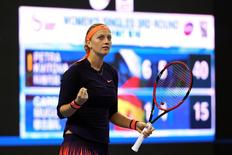Tennis - China Open Women's Singles Third Round - Beijing, China - 05/10/16. Petra Kvitova of Czech Republic celebrates winning the match against Garbine Muguruza Blanco of Spain.  REUTERS/Damir Sagolj