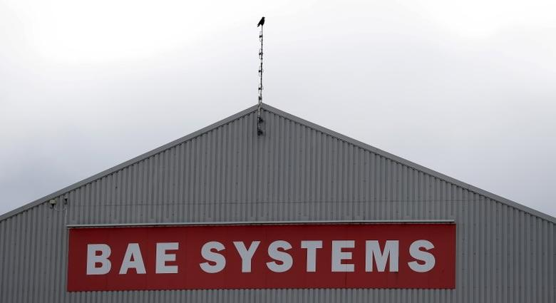 A sign adorns a hangar at the BAE Systems facility at Salmesbury, near Preston, northern England March 10, 2016.  REUTERS/Phil Noble/files