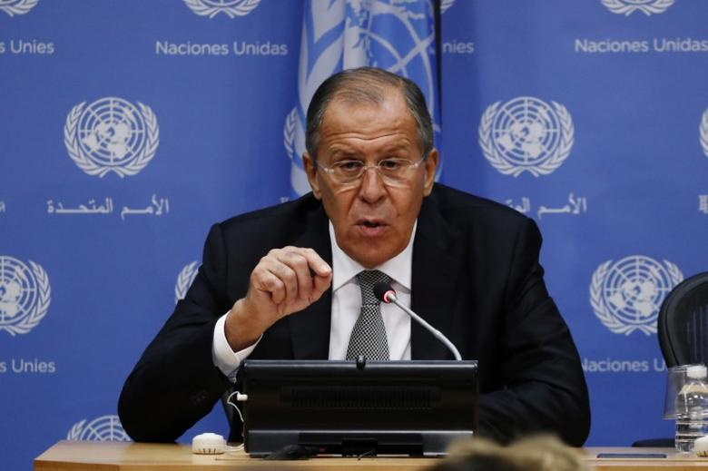 Russian Foreign Minister Sergei Lavrov takes part in a news conference at United Nations Headquarters in New York, U.S., September 23, 2016. REUTERS/Lucas Jackson