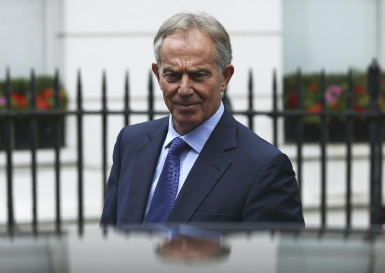 Former British Prime Minister Tony Blair leaves his office in London, Britain July 5, 2016.    REUTERS/Neil Hall