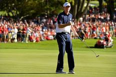 Oct 2, 2016; Chaska, MN, USA;  Brandt Snedeker of the United States celebrates on the 16th green during the single matches in 41st Ryder Cup Hazeltine National Golf Club. Mandatory Credit: John David Mercer-USA TODAY Sports  / Reuters