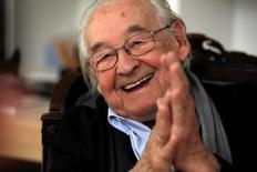 Oscar-winning Polish film director Andrzej Wajda smiles as he speaks to Reuters during an interview at Akson Studio office in Warsaw August 13, 2013.  Wajda died Sunday night aged 90, according to local media.    REUTERS/Kacper Pempel/File Photo