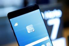 Un celular Samsung Galaxy Note 7 en la sede de la compañía en Seúl, Corea del Sur. 10 de octubre de 2016. Samsung Electronics Co Ltd dijo el martes que dejó de producir sus teléfonos inteligentes Galaxy Note 7 por preocupaciones relacionadas con la seguridad de sus consumidores. REUTERS/Kim Hong-Ji
