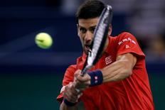Tennis - Shanghai Masters tennis tournament - Shanghai, China - 11/10/16. Novak Djokovic of Serbia plays against Fabio Fognini of Italy. REUTERS/Aly Song