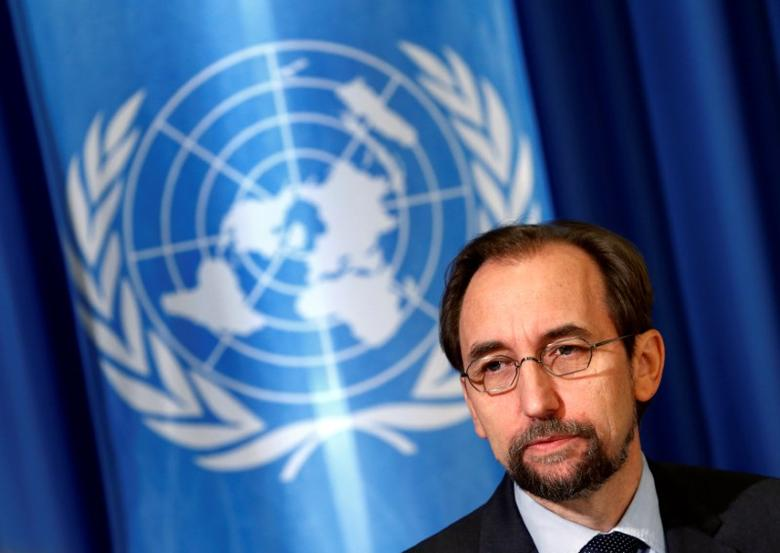 United Nations High Commissioner for Human Rights Zeid Ra'ad Al Hussein attends a media briefing at the U.N. European headquarters in Geneva, Switzerland October 12, 2016. REUTERS/Denis Balibouse