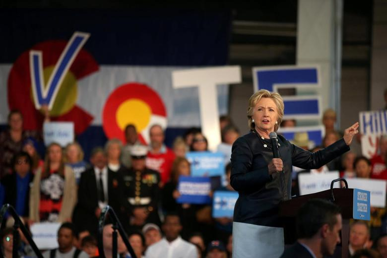 U.S. Democratic presidential nominee Hillary Clinton speaks at a rally at the Colorado State Fair Grounds in Pueblo, Colorado, U.S. October 12, 2016. REUTERS/Lucy Nicholson