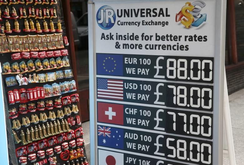 A bureau de change advertises it's currency exchange rates in London, Britain October 12, 2016.  REUTERS/Peter Nicholls
