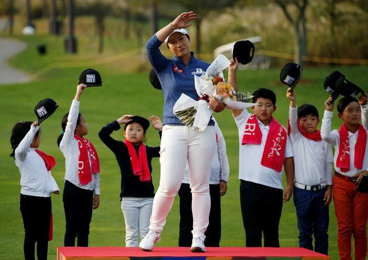 Golf - LPGA KEB Hana Bank Championship - Incheon, South Korea - 13/10/16. Pak Se-ri of South Korea reacts during her retirement ceremony. REUTERS/Kim Hong-Ji