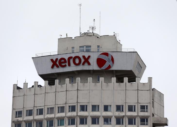 The logo of Xerox company is seen on a building in Minsk, Belarus, March 21, 2016.  REUTERS/Vasily Fedosenko