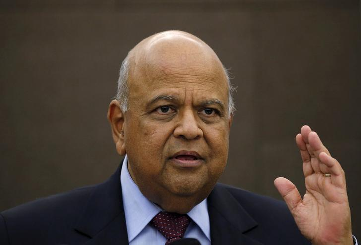 Finance Minister Pravin Gordhan reacts during a media briefing in Johannesburg, South Africa, March 14, 2016.   REUTERS/Siphiwe Sibeko/File Photo