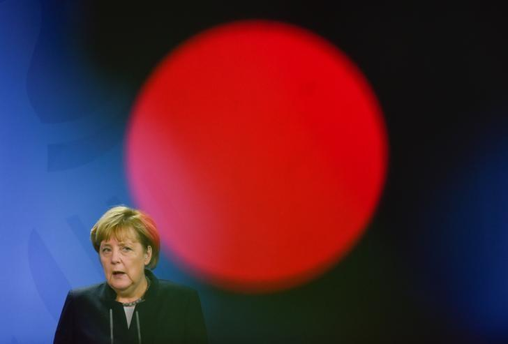 German Chancellor Angela Merkel addresses the media after a meeting with Chad President Idriss Deby at the Chancellery in Berlin, Germany October 12, 2016. REUTERS/Stefanie Loos