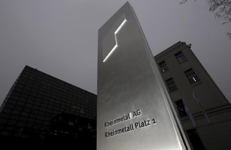 The logo of Germany's Rheinmetall AG is seen outside the company's headquarters in Duesseldorf, in this March 19, 2015 file photo.  REUTERS/Ina Fassbender/Files