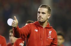Britain Football Soccer - Liverpool v Chelsea - Barclays Premier League - Anfield - 11/5/16 Liverpool's Jordan Henderson during the lap of honour at the end of the match Reuters / Andrew Yates