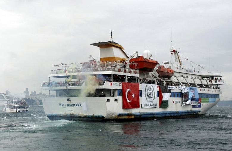 Turkish ship Mavi Marmara, carrying pro-Palestinian activists to take part of a humanitarian convoy, leaves from Sarayburnu port in Istanbul, Turkey May 22, 2010. REUTERS/Emrah Dalkaya/File Photo