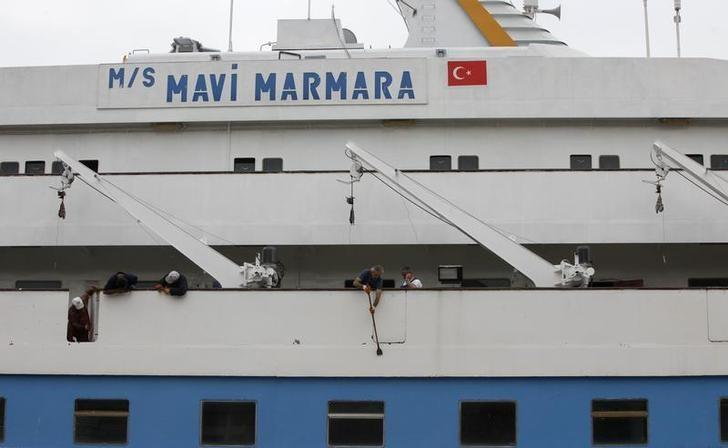 The cruise liner Mavi Marmara is under maintenance in a shipyard in Istanbul May 20, 2011. According to Human Rights and Freedoms and Humanitarian Relief (IHH), a Turkish Islamic charity that owned the Mavi Marmara, the ship is getting ready to join another flotilla to the Gaza Strip. Nine Turkish activists died in May 2010 when Israeli commandos raided the boat, which was part of a flotilla seeking to break the blockade imposed on the Gaza Strip. REUTERS/Osman Orsal (TURKEY - Tags: POLITICS MARITIME)