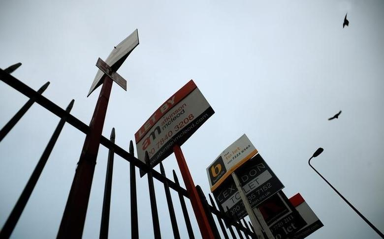 Birds take to the early morning sky as they fly over a row of estate agent signs, in London December 15, 2008. REUTERS/Dylan Martinez