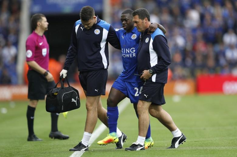 Britain Soccer Football - Leicester City v Arsenal - Premier League - King Power Stadium - 20/8/16Leicester City's Nampalys Mendy is helped off the pitch after sustaining an injuryReuters / Darren StaplesLivepic