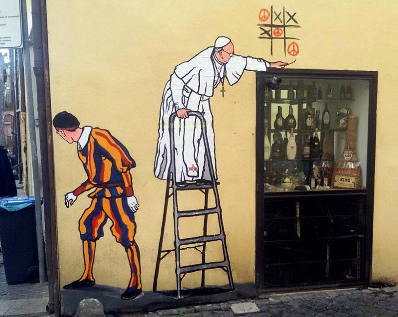 Rome \'decorum cops\' remove mural showing pope as graffiti artist ...