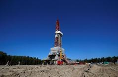 Forage du champs pétrolier de Prirazlomnoye, près de Nefteyugansk, en Russie. Le pays produira 548 millions de tonnes de pétrole l'an prochain, l'équivalent de 11 millions de barils par jour, son plus haut niveau depuis la fin de l'Union soviétique. /Photo prise le 4 août 2016/REUTERS/Sergei Karpukhin