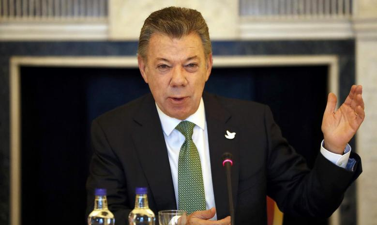 Colombia's President Juan Manuel Santos speaks during a business meeting at Buckingham Palace, in central London, Britain November 2, 2016.  REUTERS/Kirsty Wigglesworth/Pool